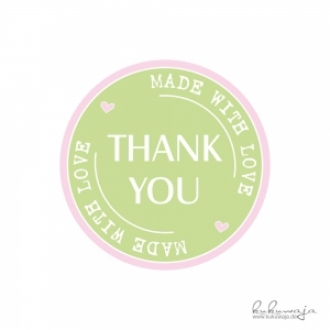 Aufkleber THANK YOU, made with love pastell Erdbeerpunkt Online Shop Schweiz