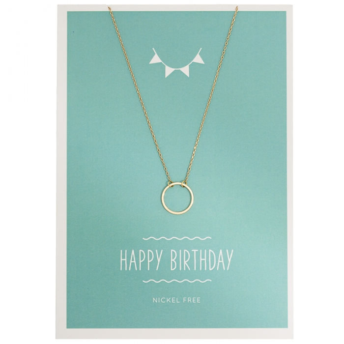 Necklage Karte, Halskette circle gold, Happy Birthday Halskette ...